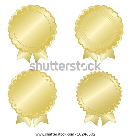 Set of gold foil effect document seals with ribbon tails and decorative edges for anniversary, commemorative, or quality assurance use. - stock vector