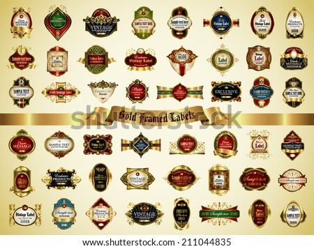 Set of gold framed labels - vintage style - stock vector