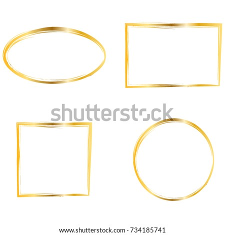 Set Of Gold Frames Simple Golden Design Oval Round Rectangle Square