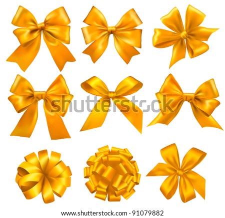Set of gold gift bows with ribbons. Vector. - stock vector