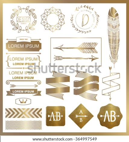 SET OF GOLD GRAPHIC DESIGN ELEMENTS such as logos.Can be used for labels, packages, greeting cards, prints, web design, fashion projects, leaflet, cosmetics etc. Vector file.  - stock vector