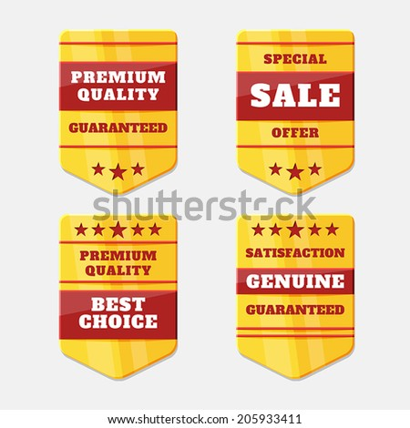 Set of gold icons. Vector medals, banners. Best Quality. Premium quality guaranteed. The Genuine Quality. - stock vector