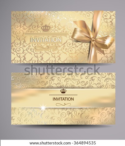 Set of gold invitation cards with floral background - stock vector
