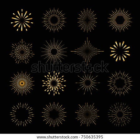 Set of gold isolated sunburst rays design elements on a black background.