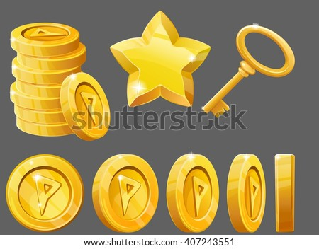 Set of gold items, coins, star and key. Resource icons for games. Vector illustration. - stock vector