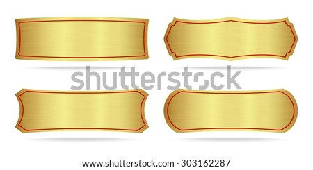 Set Gold Label Metal Metallic Gold Stock Vector Shutterstock - Name plate template