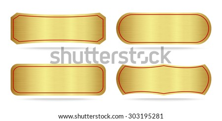 Set of Gold label metal or Metallic gold name plate .Vector illustration - stock vector
