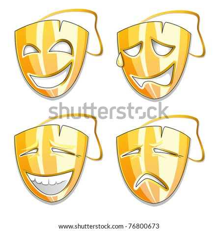 set of gold mask icons with different emotions - stock vector