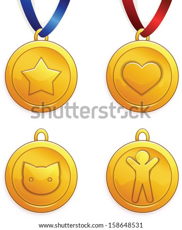 Set of gold medals. Heart shape, star, kitten and human. EPS10, transparency. - stock vector