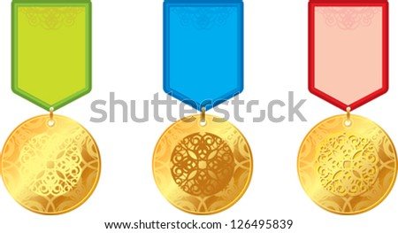 set of gold medals with ornament - stock vector