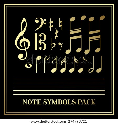 Set of Gold Music Notes Symbols EPS 10 - stock vector