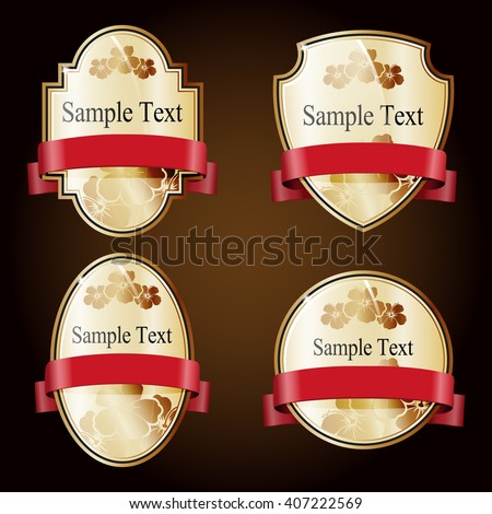 Set of gold ornate labels with red tape. Grouped for easy editing. Perfect for labels or stickers for wine, beer, champagne, cognac, cologne and etc. - stock vector
