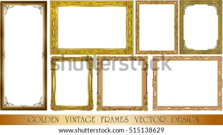 set of gold photo frame with corner thailand line floral for picture vector design decoration