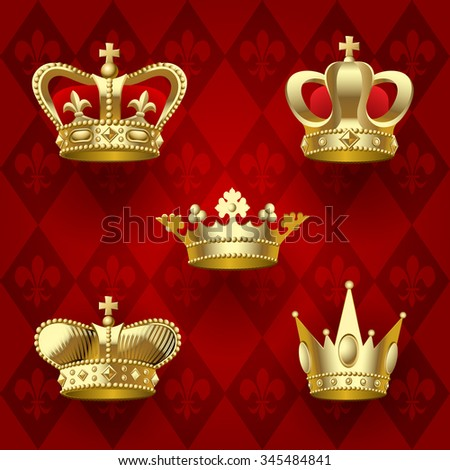 Set of gold shining crowns on dark red background. Retro design elements. Vector Illustration - stock vector