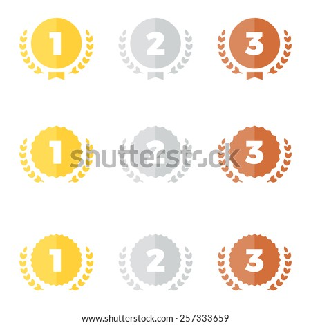 Set of gold silver and bronze award medal graphics - stock vector