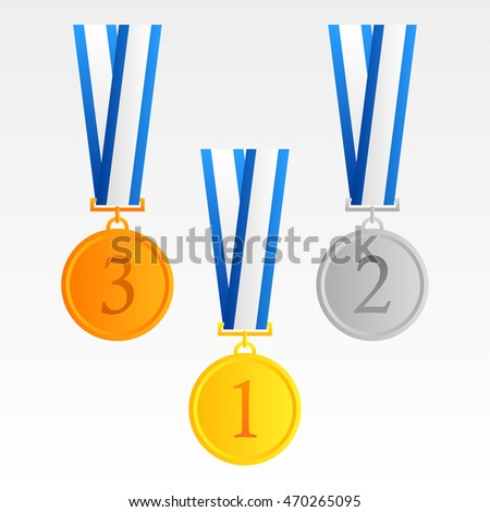 Set of gold, silver and bronze medals.with blue ribbon vector in the white background