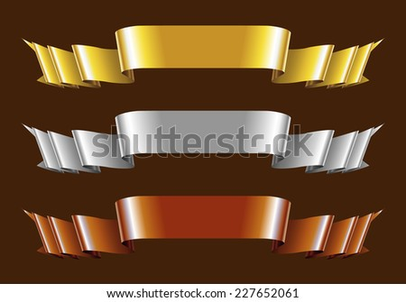 Set of Gold, Silver and Bronze Ribbons. Vector Illustration - stock vector