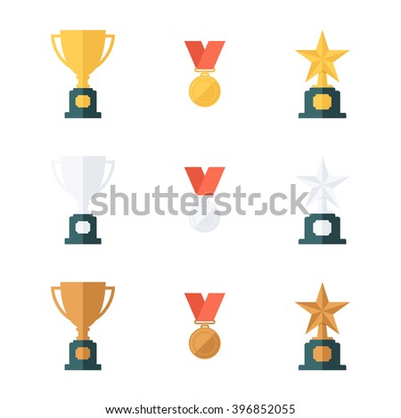 Set of gold, silver and bronze trophy cups, medals and star awards. Flat design vector illustration. - stock vector