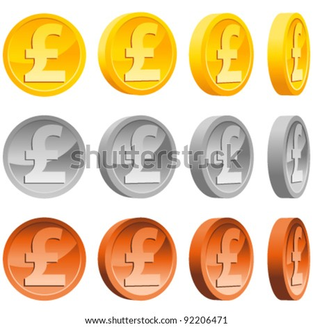 Set of Gold, Silver and Copper Pound Coins. - stock vector