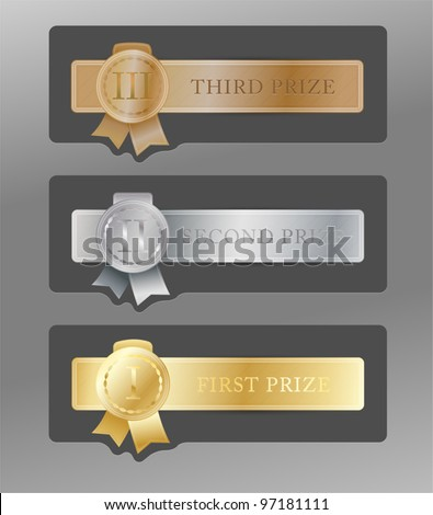 Set of gold, silver & bronze medals for first, second & third places on metal badges with ribbons & roman numerals on gray background. - stock vector