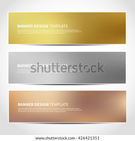 Set of gold, silver, bronze vector banners templates or website headers. Vector design for your banners, headers, footers, flyers, cards. Christmas golden, silver, beige banners - stock vector
