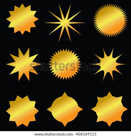 Set of gold sunburst shapes - shiny luxury stickers, badges, gold stars, gold medallion. Golden radial backgrounds collection. Golden vector emblems on black background. - stock vector