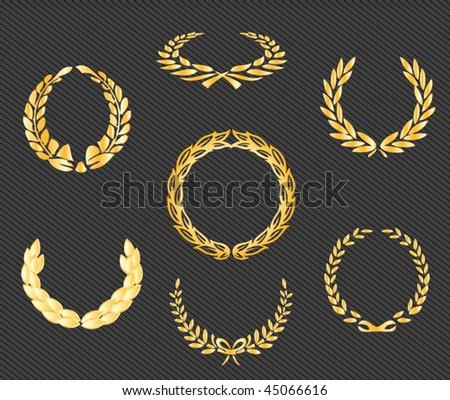 set of gold vector laurels - vintage signs - stock vector
