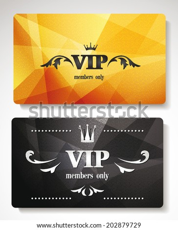 Set of gold vip cards with abstract background with floral elements - stock vector