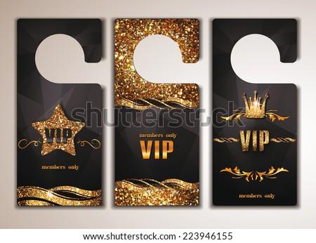 Set of gold VIP door tags - stock vector