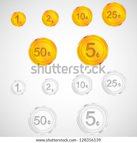 Set of golden and silver coins. American cents. Vector money - stock vector