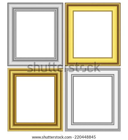 Set of golden and silver frames isolated on white - stock vector