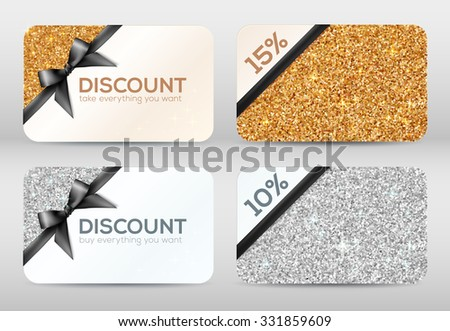 Set of golden and silver glitter vector discount cards templates with black ribbons - stock vector