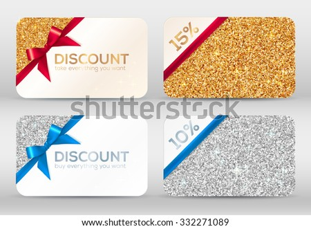 Set of golden and silver glitter vector discount cards templates with red and blue ribbons - stock vector