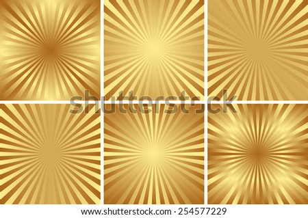 set of golden backgrounds with rays - stock vector