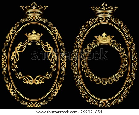 set of golden borders with crown - stock vector