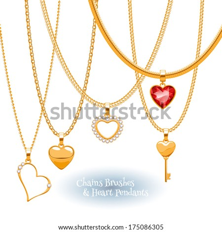 Set of golden chains with heart pendants. Precious necklaces. Good for Valentine's day design. Include chains brushes. - stock vector