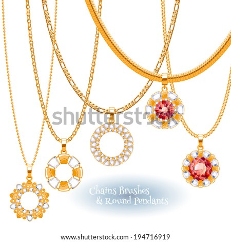 Set of golden chains with round pendants with gemstones. Precious necklaces.  - stock vector