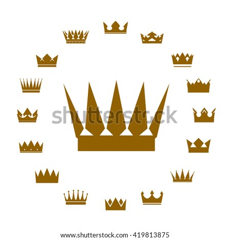 Set of golden crowns. Vector Icons