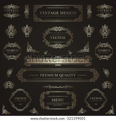 Set of golden decorative vintage design elements for label, logo, emblem design. - stock vector