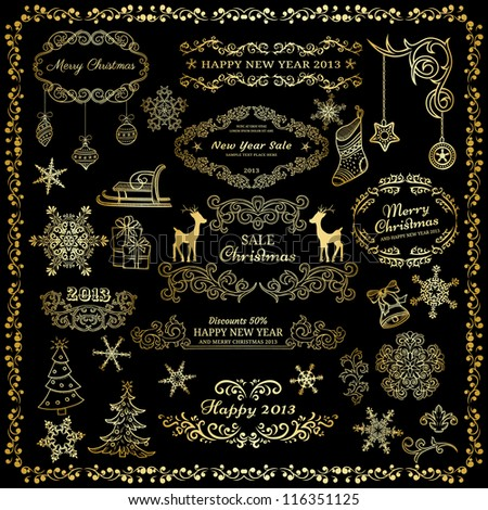 Set of golden design elements on dark background - stock vector