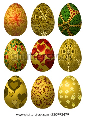 Set of golden Easter eggs with various patterns isolated on white background - stock vector