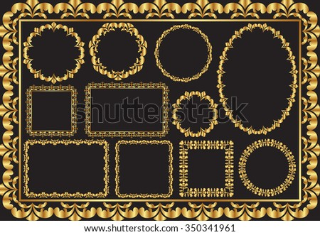 set of golden frames - stock vector