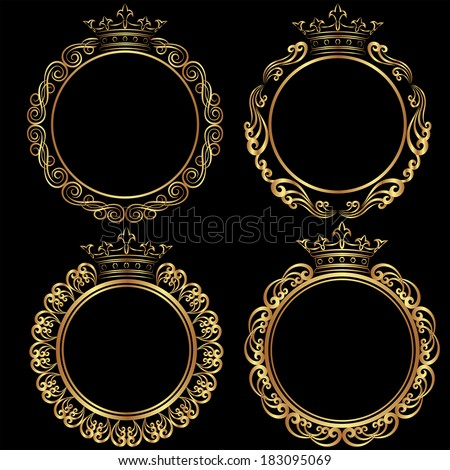 set of golden frames with crown - stock vector