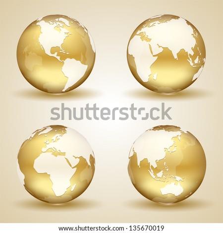 Set of golden globes on beige background, illustration. - stock vector