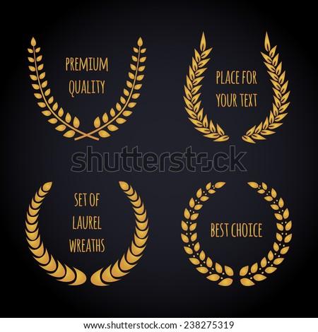 Set of golden laurel wreath on dark background. Vector editable illustration. - stock vector