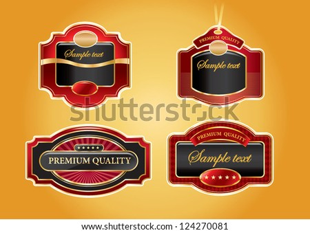 set of golden luxury labels - stock vector