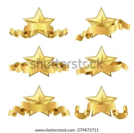 set of golden realistic stars with ribbons on white