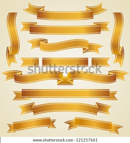 Set of golden ribbons - stock vector
