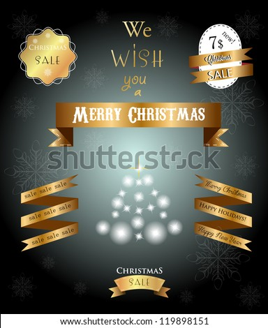 Set of golden ribbons and labels with Christmas congratulation - stock vector