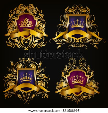 Set of golden royal shields for graphic design on black background. Old graceful frame,  border, crown, floral element, ribbon in vintage style for icon, label, emblem, badge, logo. Illustration EPS10 - stock vector